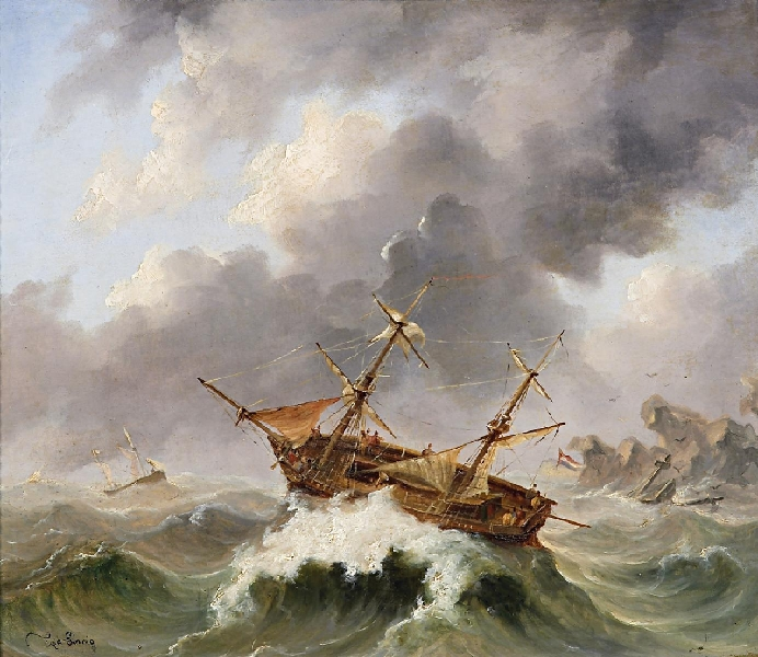 Oil painting of a ship in a storm
